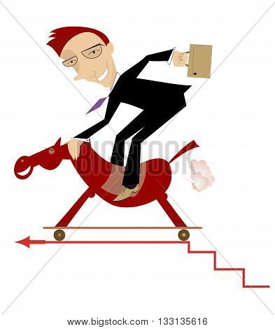 Forward to success. Businessman on the horse is making progress on the career ladder