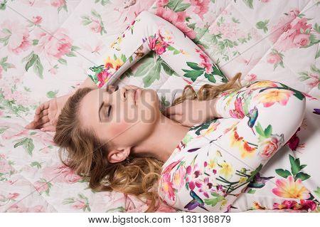 Sensuality Young Woman Lying On Sofa