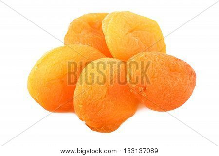 Dried apricots. Dried apricots isolated on white.