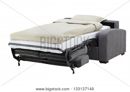 Grey couch bed isolated on white include clipping path