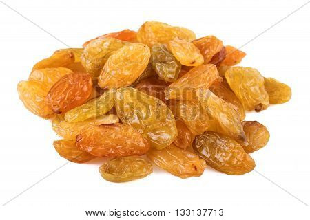 Raisins sultanas isolated  on white background. Closeup.