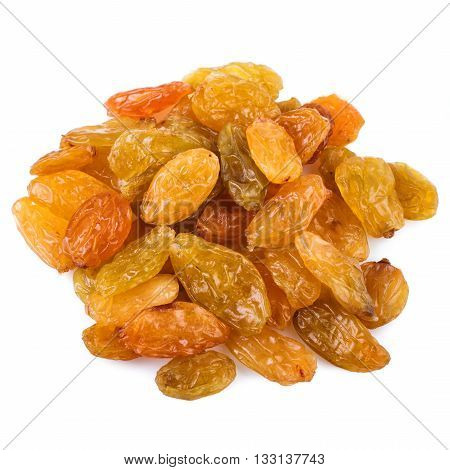 Raisins heap isolated on a white background