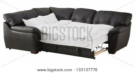 Black Brown Leather Corner Couch Bed Isolated On White