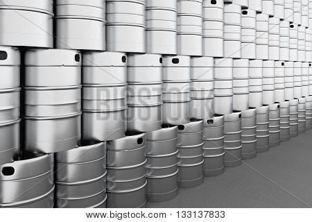New beer kegs barrels storage. 3d render
