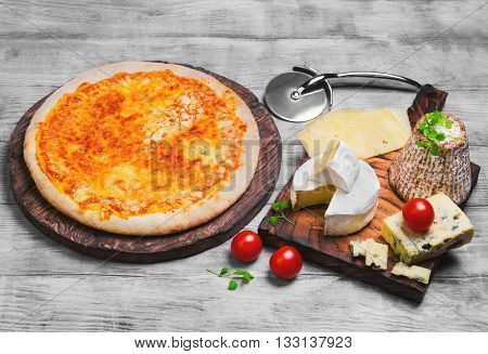 Pizza Four Cheese Food Photo