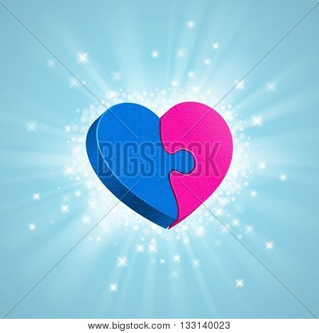 Two puzzles are forming a whole heart; glow sparkles and rays around on blue background. Blue male part and pink female part of heterosexual couple. Love concept