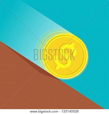 Gold coin with dollar sign at high speed is rolling down at sloping plane. Depreciation of money concept