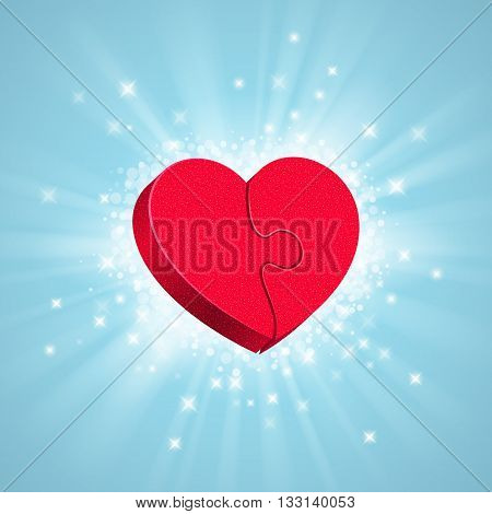 Two red puzzles are forming a whole heart; glow sparkles and rays around on blue background. Love concept