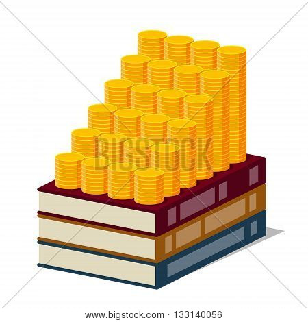 Books with lored cover and increasing columns of gold coins on them on white background. Stylized drawing. Money are investing in knowledge and knowledge are generating an income