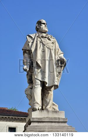 Monument of Giuseppe Garibaldi one of Italy's Fathers of Fatherland in the center of Vicenza made by artist Ettore Ferrari in 1887
