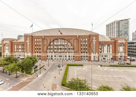 DALLAS USA - APR 8: The American Airlines Center Arena in Dallas. April 8 2016 in Dallas Texas United States