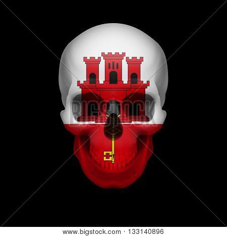 Human skull with flag of Gibraltar. Threat to national security war or dying out