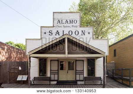 DALLAS USA - APR 8: Historic wooden building of a Saloon in Dallas Heritage Village. April 8 2016 in Dallas Texas United States