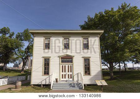 DALLAS USA - APR 8: Historic Renner School building in the Dallas Heritage Village. April 8 2016 in Dallas Texas United States