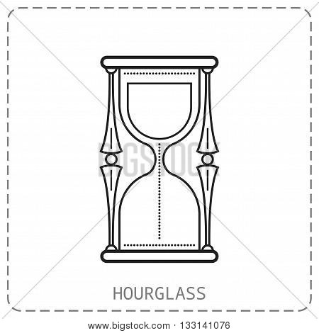 Hourglass. Flat linear icon isolated on white background. Vector object
