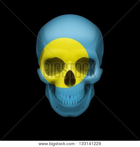 Human skull with flag of Palau. Threat to national security war or dying out