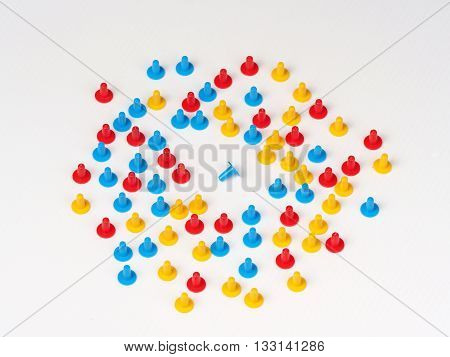 Illustration of one singled out by colored plastic board game hats in various colors