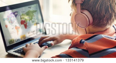 Boy Play Game Laptop Technology Concept
