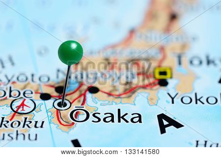 Osaka pinned on a map of Japan