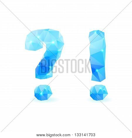 Shiny blue polygonal font. Crystal style question and exclamation marks