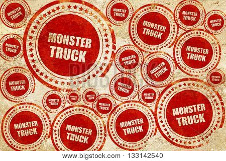 monster truck sign background, red stamp on a grunge paper textu