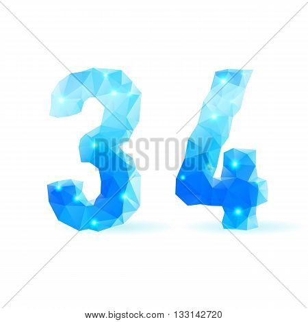 Shiny blue polygonal font. Crystal style numerals three and four