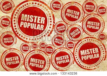 mister popular, red stamp on a grunge paper texture