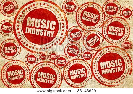 music industry, red stamp on a grunge paper texture