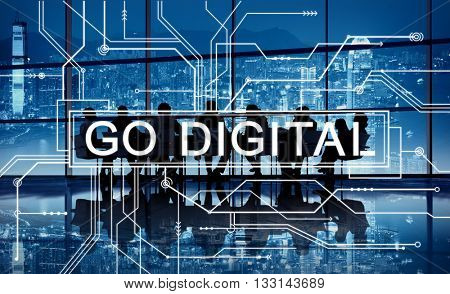 Go Digital Online Technology Electronics Mother Board Concept