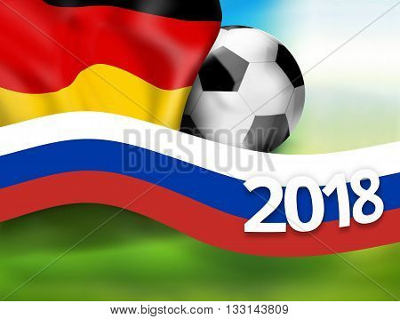 2018 football russia germany soccer flag background 3D