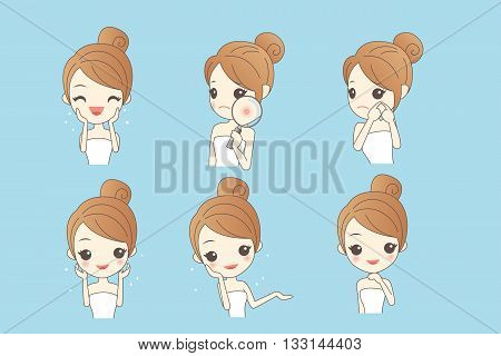 cartoon skin care woman with various expression and face skin problem - young woman with a acne and magnifying glass check it beauty