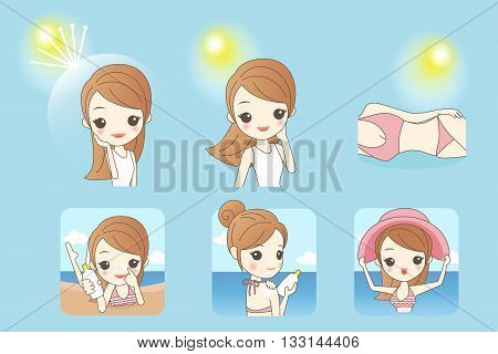 cartoon beautiful woman with sunshine and blue sky concept for skin care and sun block asian beauty