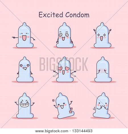 Excited cartoon Condom set great for your design
