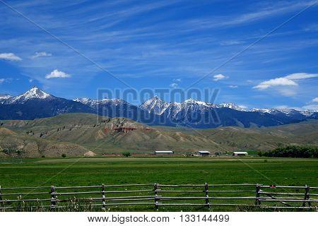 The Beaverhead Mountains create a beautiful background for a ranch near Salmon, Idaho.