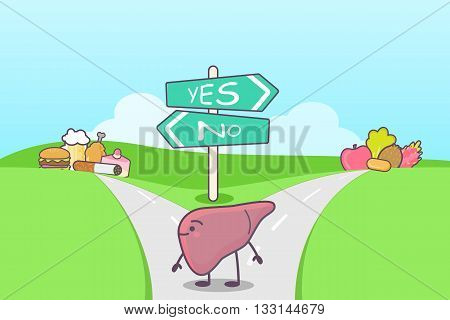 cute cartoon liver think confused between health food and unhealth food on the seperated road great for health care concept