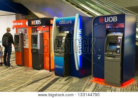 Singapore - March 16 2016: Various bank ATM at Singapore Changi International airport