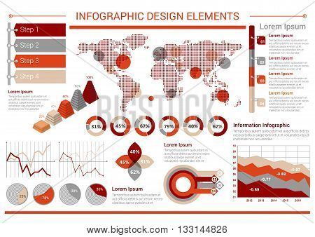 Charts, graphs and map for infographics design usage with pie, pyramid and petal charts, step by step diagrams with tags and arrows, world map with markers and line graphs
