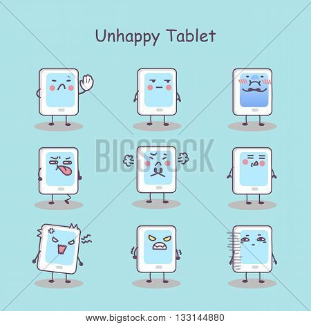 Unhappy cartoon digital tablet pc set great for your design