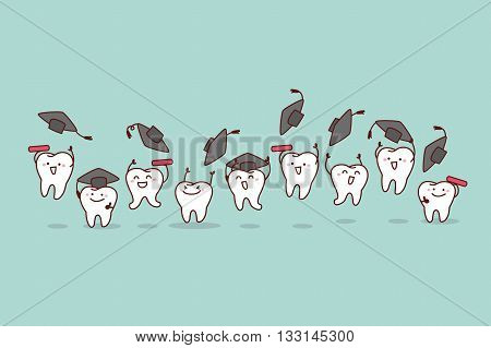 Happy cartoon graduate tooth jump and run great for health dental care concept
