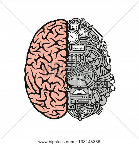 Brain machinery cartoon symbol with right hemisphere as an anatomically detailed human cerebral cortex and another as a data processing center with devices and equipments