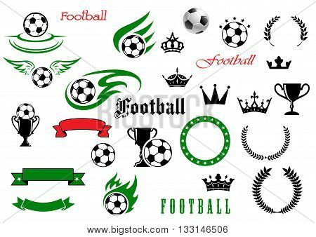 Football and soccer sporting items symbols for championship or club design usage with winged and flaming balls with champion trophy cups, heraldic laurel wreaths and ribbon scroll and banners with crowns and stars