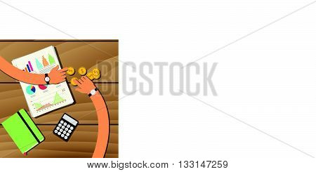 recession on wooden table team work together with graph and hand vector graphic illustration