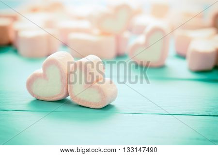 Heart Shape Of Marshmallows On Wood Background, For Love And Valentine Day , Vintage Toning