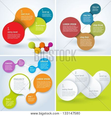 Step by step vector infographic template set.