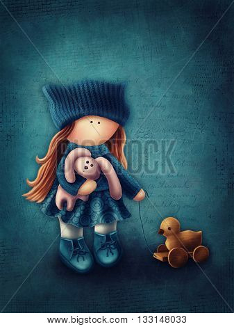 Illustration of a little girl with toys