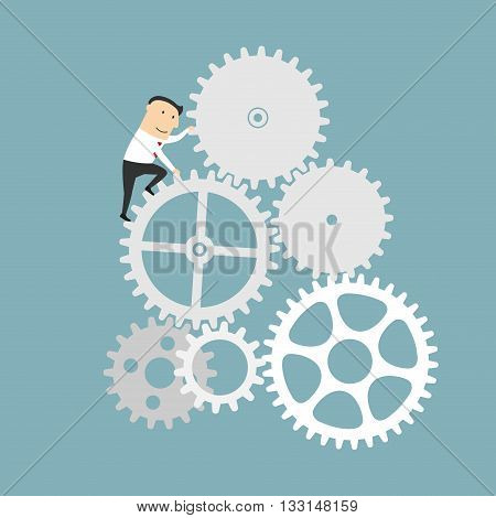 Business process and financial mechanism concept design. Businessman is turning a gear system. Cartoon style