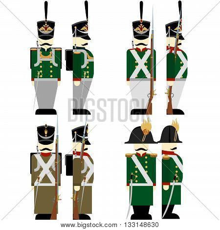 Army soldiers in Russian uniforms and weapons were used in the 1812 war. The illustration on a white background.