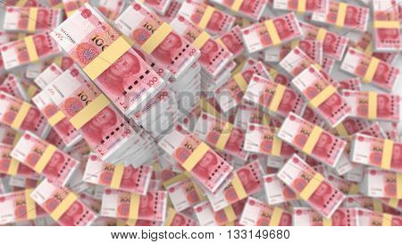 Huge pile of random Chinese 100 RMB bills with three very huge piles standing outfrom the blurry background 3D illustration