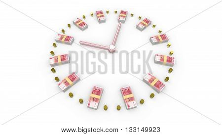 Time is money concept clock with a watchface made of Chinese RMB and gold coins 3D illustration