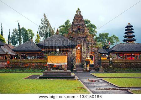 Pura Ulun Danu Bratan Hindu temple on Bratan lake Bali in Indonesia